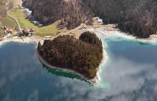 Heart-shaped Walchensee Island