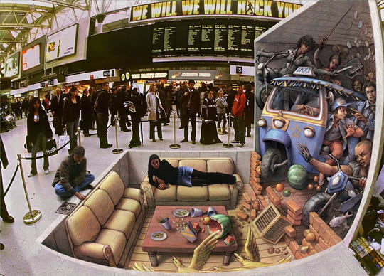 Incident at Waterloo - 3D Pavement Art by Kurt Wenner