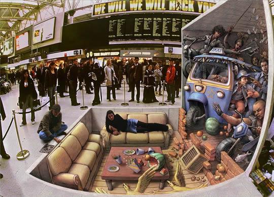 Incident at Waterloo - 3D Pavement Art by Kurt Wenner