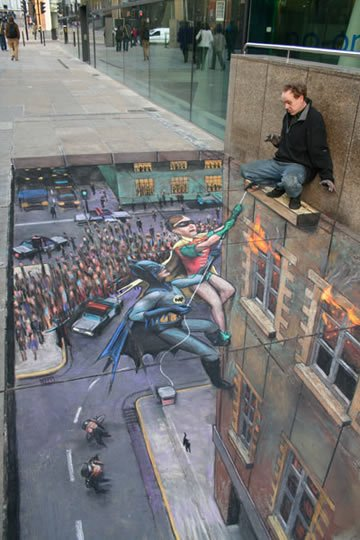 Batman and Robin to the Rescue - 3D Pavement Art by Julian Beever