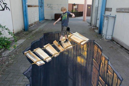 Bridge – 3D Street Art by Nikolaj Arndt