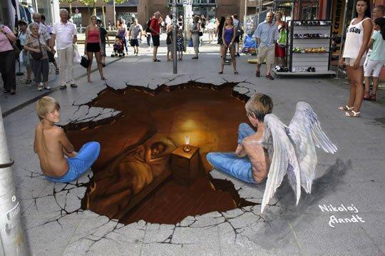 Guardian Angel – 3D Street Art by Nikolaj Arndt