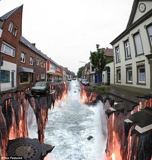 Lava Burst - Street Art by Edgar Mueller