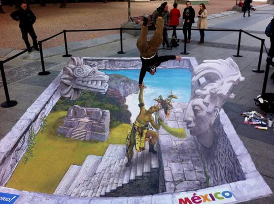 Oráculo Maya – 3D Pavement Art by Eduardo Relero