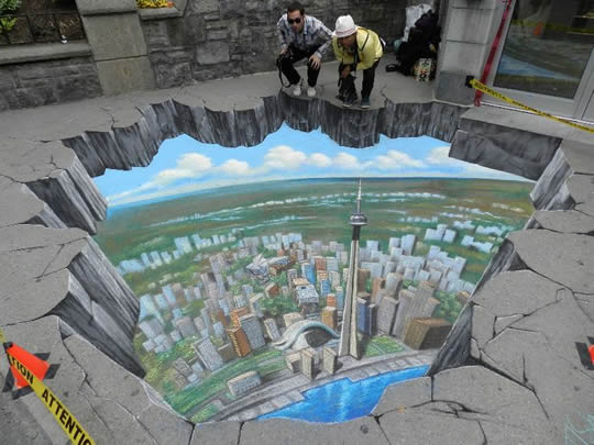 Bird's Eye View of Seattle – Street Artwork by Tracy Lee Stum