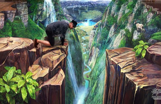 Swiss Valley – 3D Street Painting by Qi Xinghua