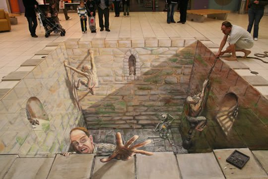 That Hemmed in Feeling - 3D Illusion Painting by Julian Beever