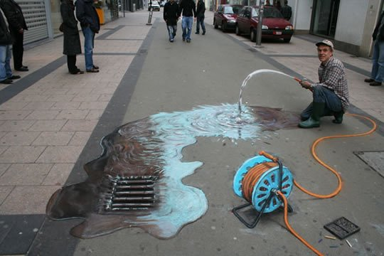 Waste of Water - 3D Street Painting by Julian Beever