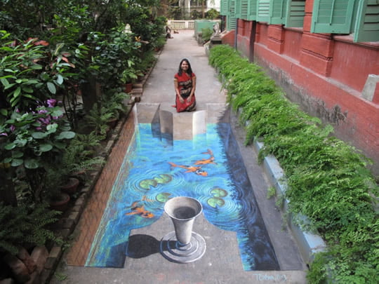 Water In The Way – 3D Pavement Art by Tracy Lee Stum